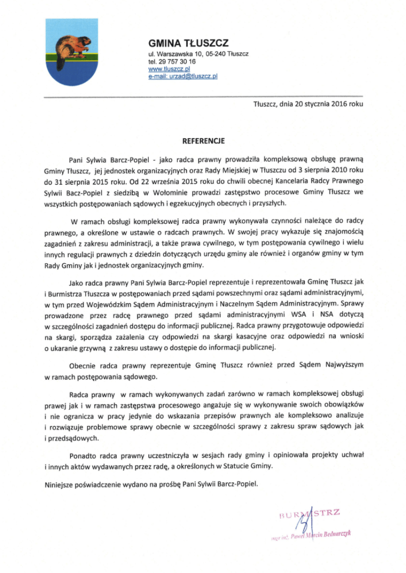 List referencyjny - Gmina Tłuszcz