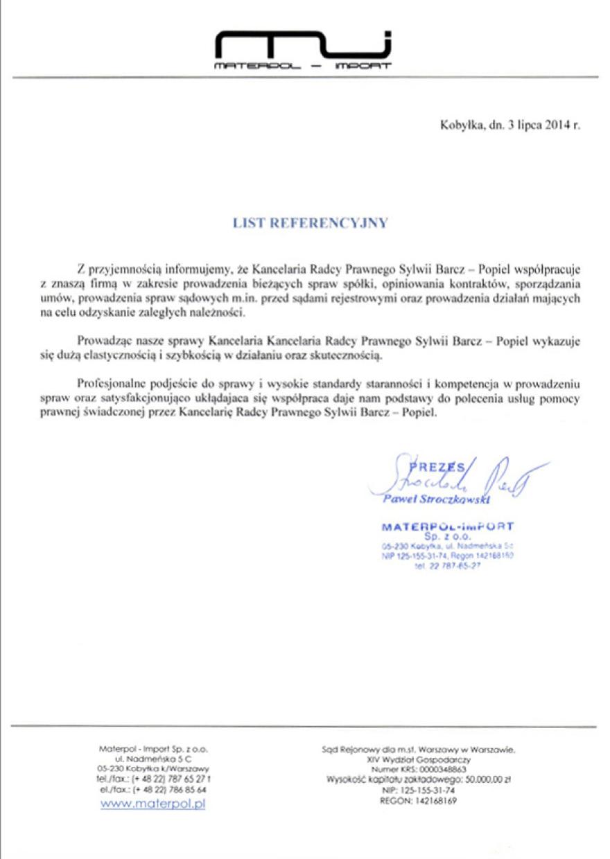 List referencyjny - Materpol